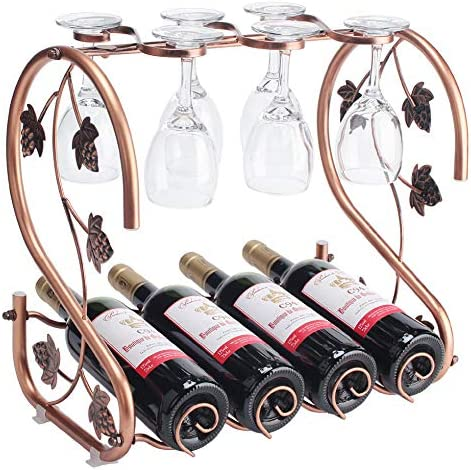 Freestanding Countertop Wine Rack With Glass Holder Holds 4 Bottles And 6 Stemwares Kitchen Dining