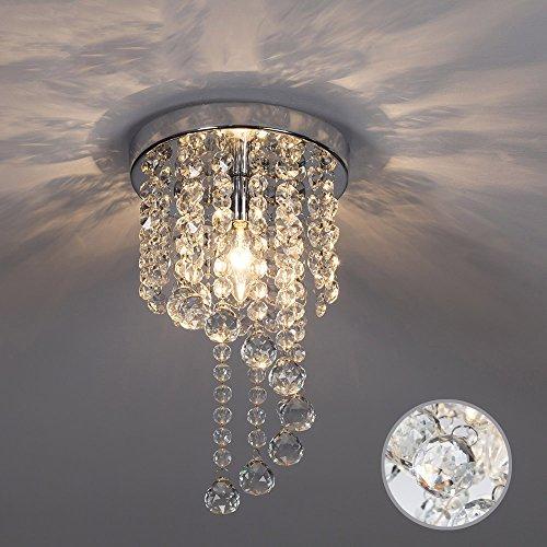 SOTTAE Bulb Rotary Pendant Fixture Lighting Bedroom Hallway Kids Room Living Room Elegant Ceiling Light Modern Crystal Chandelier,Chrome Finished(8