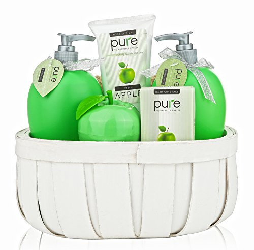 Pure! Rachelle Parker Luxury Spa Basket- Lush Bath & Body Treats to Hydrate Naturally! Give the Gift that Gives Twice! (Wicker Wrapped Box)