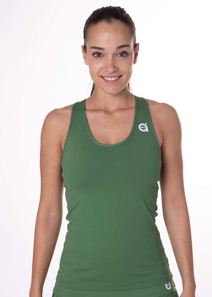 a40grados Sport & Style, Camiseta Cossi, Color Verde Oliva, Mujer, Tenis y Padel (Paddle)