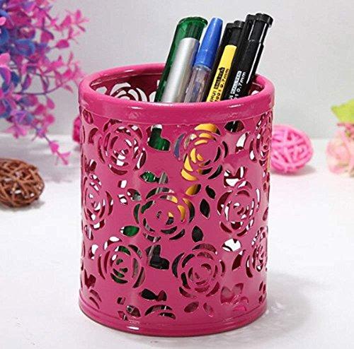 Stifthalter Hohl Rose Blumenmuster Zylinderstift Bleistift Topflappen Container Organizer Rot Schulbedarf Halter B/üro Desktop Organizer Korb