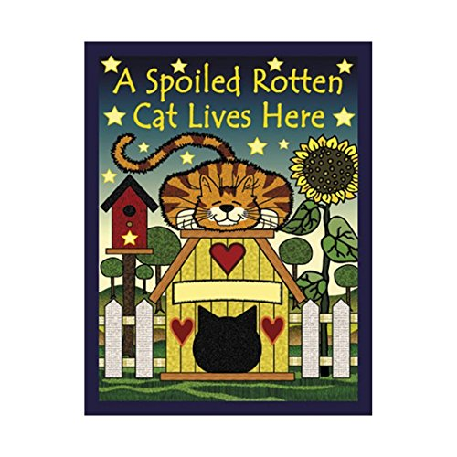 Raininc's Cute Animals Garden Flag A Spoiled Rotten Cat Lives Here Outdoors Flags of Double Sided Waterproof and Fade Resistant Printed Banners 12.5 X 18 Inch 100% Polyester ()