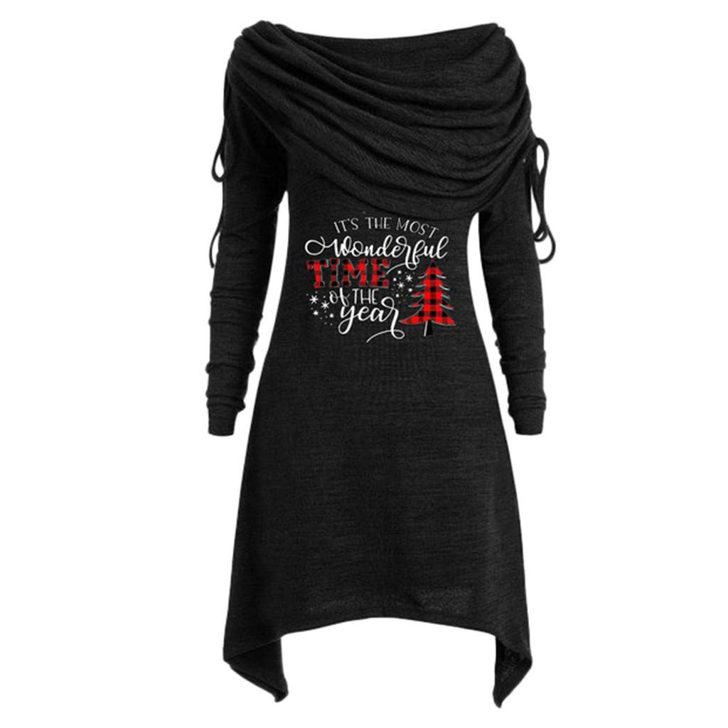 SHUSUEN Womens Long Sleeve Solid Color Lightweight Pullover Christmas Print Sweatshirt Casual Turtleneck Hoodies by SHUSUEN