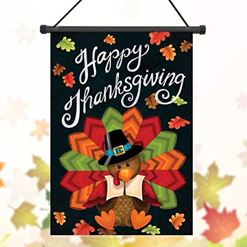 Bumatech Garden Landscaping & Decking - 30x45cm Thanksgiving Polyester Turkey Welcome Flag Garden Holiday Decoration - Garden Decorations Turkey Thanksgiving Polyester Flag -