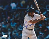 CHRIS CHAMBLISS AUTOGRAPHED 8x10 NY YANKEES AT BAT PHOTO JSA AUTHENTICATED