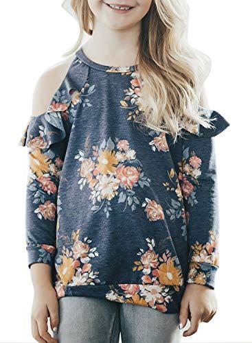 Acelitt Little Girls Casual Loose Long Sleeve Cold Shoulder Floral Print Ruffle Blouse Tunic Tops Big Girl T Shirt