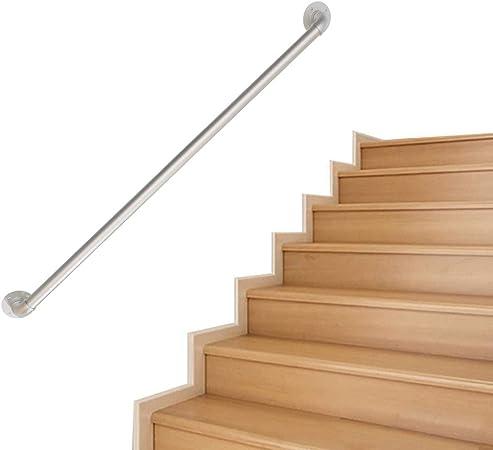 SESO UK Pasamanos de Escalera - Kit Completo. Barandilla de Soporte de riel de Seguridad de tubería Plateada de Hierro Forjado, barandillas para escalones Interiores al Aire Libre(Size:3ft/90cm): Amazon.es: Hogar