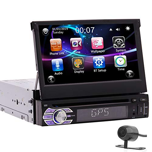 7inch Detachable Capacitive Touch Screen Car DVD Player 1Din Car Stereo GPS System in Dash Head Unit Bluetooth Handfree Autoradio FM AM RDS Receiver Mirror Link for Android Phone with Backup Camera