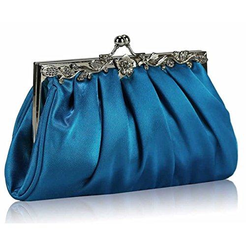 Xardi London New Women Bridal Satin Wedding Clutch Slouch Diamante Ladies Evening Bags Prom Blue