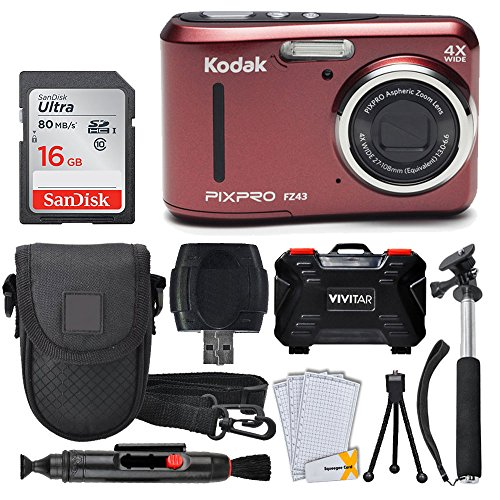 Kodak PIXPRO FZ43 Digital Camera (Red) + 16GB Memory Card + Deluxe Point and Shoot Camera Case + Extendable Monopod + Lens Cleaning Pen + LCD Screen Protectors + Table Top Tripod - Top Valued Bundle ()