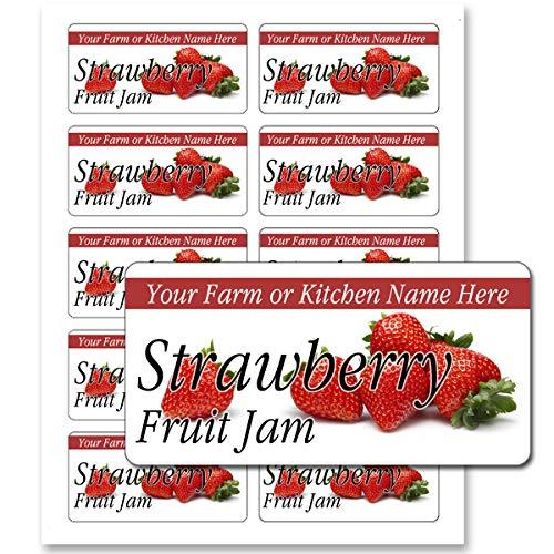 Fruit Jam Jelly Rectangle Personalized Farm Kitchen Name Mason Jar Labels (Strawberry, 50 Labels on 5 Sheets)