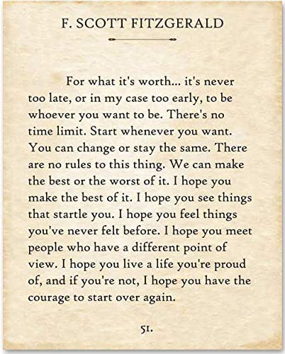 F. Scott Fitzgerald - For What It's Worth. - 11x14 Minimalist Unframed Quote Book Page Print - Great Gift for Wedding, Anniversary and Birthday and Decor for Home, School & Office Under $15