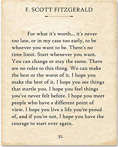 Quote Framed Poster - F. Scott Fitzgerald - For What It's Worth. - 11x14 Unframed Typography Book Page Print - Makes a Great Gift Under $15 for Book Lovers