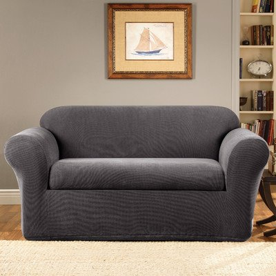 Sure Fit Stretch Metro 2-Piece - Loveseat Slipcover  - Gray - Stretch Box