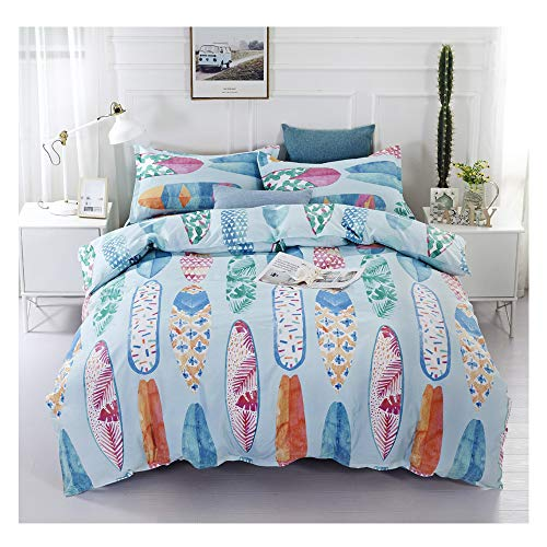 - KFZ Bed Set 3D Sea Beach Watercolor Print (1 Duvet Cover Set+2 Pillowcases) Twin Full Queen King Vacation Leisure Style for Kids Boy Children's Home Textile Bedding (Surfboard, Queen,90