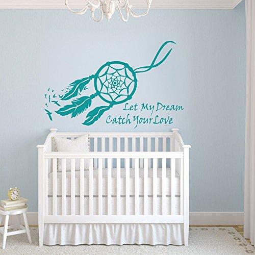 Dream Catcher Wall Decal Vinyl Dream Catcher Sticker Baby Nursery Wall Decor Wall Mural Bedroom Wall Art Decor Teal