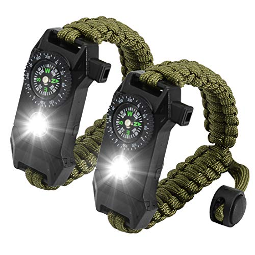 NEW-Vi Adjustable Paracord Survival Bracelet, Tactical Emergency Gear Kit Includes SOS LED Flashlight,70% Larger Compass Loud Whistle and Fire Starter-Outdoor Hiking -Set of 2 (Army Green)
