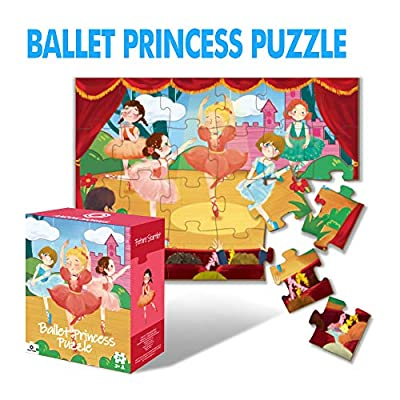 ANZON MORIES Ballet Princess Puzzle with Storage Box, 24 Pieces Large Kid Jigsaw Puzzles 42x30cm (Extra-Thick Material, Original Artwork), Toddler Educational Preschool Toy for Children Ages 3 4 5 6: Toys & Games