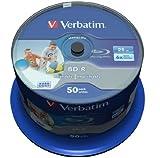 Verbatim 43812 25GB 6x BD-R SL Datalife Inkjet Printable - 50 Pack Spindl