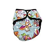 BB2 Baby One Size Printed Black Gussets Snaps Cloth Diaper Cover for Prefolds (One Size, Sweet Butterflies)