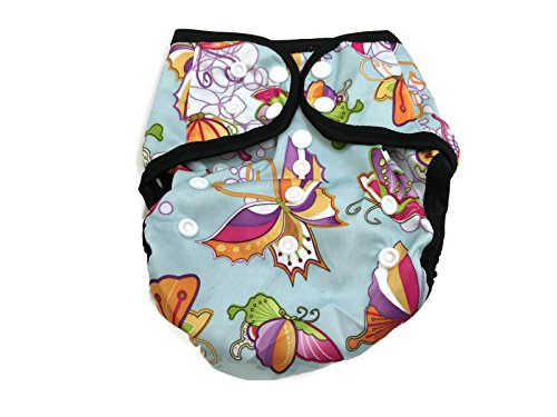 BB2 Baby One Size Printed Black Gussets Snaps Cloth Diaper Cover for Prefolds (One Size, Sweet Butterflies) ()