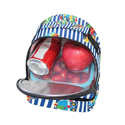 hombro correa Cars School caja nevera Bolsa con de aislamiento FOLPPLY Pincnic Cartoon para de almuerzo ajustable con waxc7q