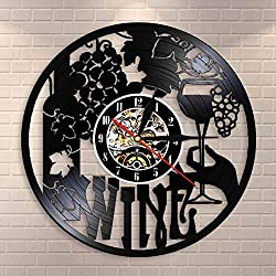 Gddyzs Wine Wall Clock Winery Bottle Glass Grape Vine Drink Drinking Alcohol Liquor Pub Bar Label Emblem Vinyl Record Wall Clock