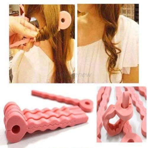 MAZIMARK--New Fashion 6Pcs Pink Soft Hair Curler Sponge Spiral Curls Roller DIY Salon - Nearby Stores Shop
