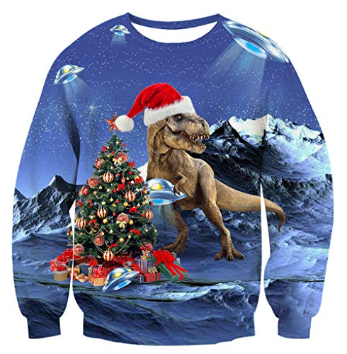 Unisex Ugly Christmas Sweater Cool Tyrannosaurus Decor Red Hat Print Starry Galaxy Crewneck Long Sleeve Shirt Pullover for 80's 90's Youth Girls Boys Funny Sweatshirt for Women Men XXL 2XL