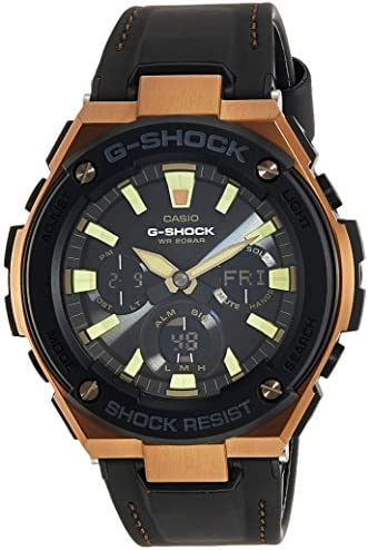 Casio G-Shock Steel Black Dial Leather Strap Men s Watch GST-S120L-1A