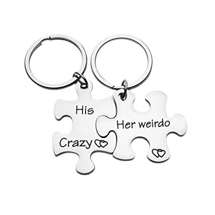 Couples Keychains Set Anniversary Valentines Day Gifts His Crazy Her Weirdo Birthday Gift Couple Husband Wife