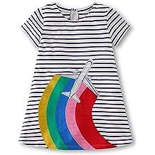 Fiream Girls Cotton Short Sleeves Casual Cartoon Summer Striped Printed Dresses
