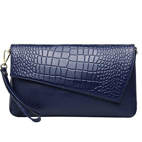 Sacs soirée Shoulder Sac Sac main de Sac Enveloppe Femme New NBWE cuir d'embrayage en à Blue Messenger OUSSZqw