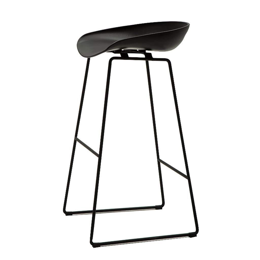 Black 65CM GY Bar Stool, Simple Bar Chair, PP Plastic Chair and Wrought Iron Scooter Suitable for Home Kitchen Breakfast Counter Leisure, 4 colors, 3 Sizes (color   White, Size   75CM)