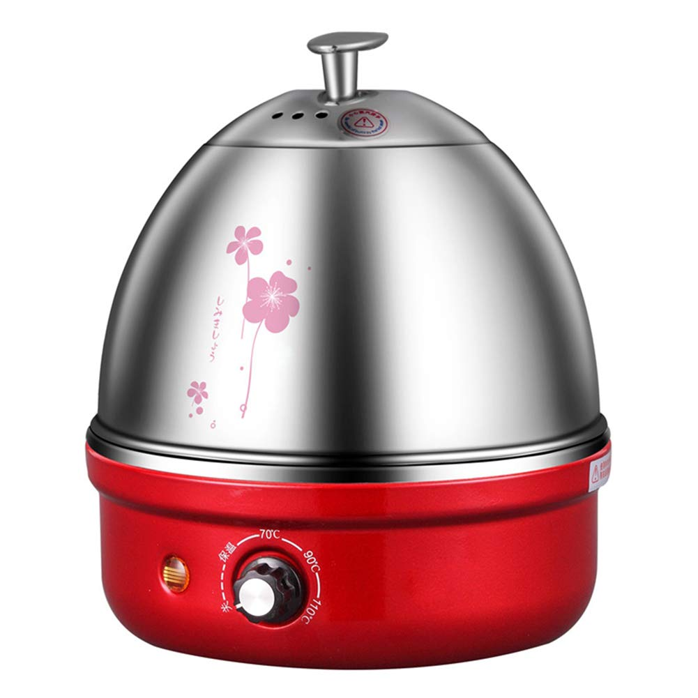 304 Stainless Steel Electric Egg Boiler Multifunctional Breakfast Egg Cooker Food Heater Automatic Power Off 4 Colors,Red