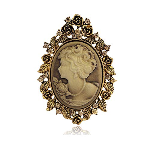 RareLove Vintage Classic Costumes Mom Cameo Brooch Pin for Bouquet Lady Maiden Beauty Crystal Flower Carved