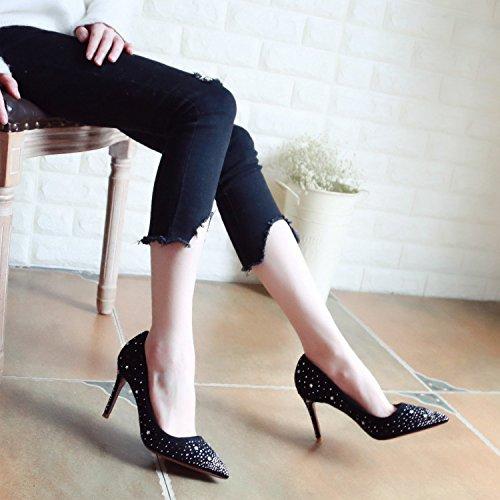 ZHUDJ High Heels Im Frühjahr, Dünne Ferse Bohren, Dünne Frauen Schuhe, Schmale Schuhe, Flachen Mund Schuhe, Schuhe black