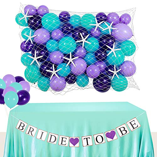 DOYOLLA Mermaid Bridal Shower Decoration Set, Starfish and Seashell Paper Garland, Bride to Be Bunting Banner, Fish net, Mermaid Color Balloons for Under the Sea Theme Wedding, Engagement, Bachelorette Party Supplies & Decor]()