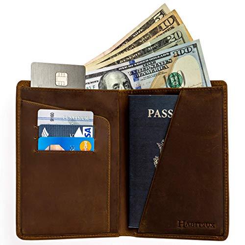 RFID Blocking Passport Holder Travel Wallet - Genuine Crazy Horse Leather (Dark Brown)