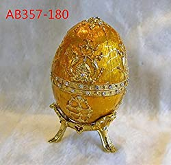 Faberge Jewelry Box with Tray Trinket Egg with Crystal Decorations Gift Box (Gold)