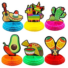 6 PCs Cinco De Mayo Fiesta Honeycomb Table Centerp...