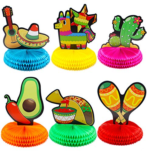 "- 6 PCs Cinco De Mayo Fiesta Honeycomb Table Centerpiece 8.5"" Party Decoration for Fun Fiesta Taco Party Supplies, Luau Event Photo Props, Mexican Theme for Carnivals Festivals, Dia De Muertos, Coco Theme, Wedding, Birthdays and Party Favors"