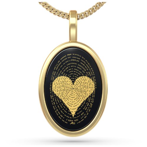 Gold Plated Love Necklace Pendant 24k Gold Inscribed I Love You in 120 Languages Onyx, 18'' Gold Filled by Nano Jewelry (Image #1)