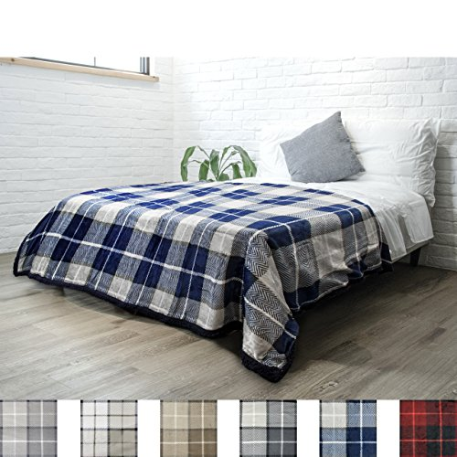 PAVILIA Premium Sherpa Twin Size Blanket | Plaid Design Flannel Fleece Twin Bed Blanket | Plush, Soft, Cozy, Warm, Lightweight Microfiber, Reversible, All Season Use (Navy Blue, 60 x 80 Inches)