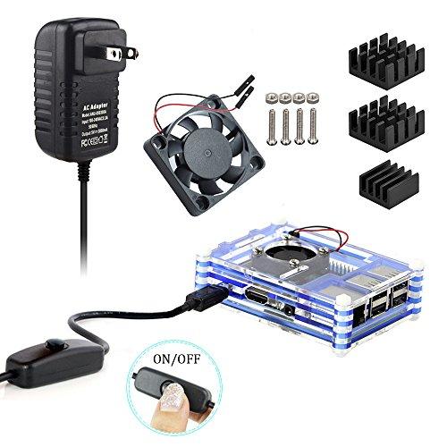 0o0Egg_X Basic Desktop Kit for Raspberry Pi 3 Model B Case 5V/3A Power Supply Adapter Heatsink Mini fan (9 layer, (Power Supply Fan Assembly)