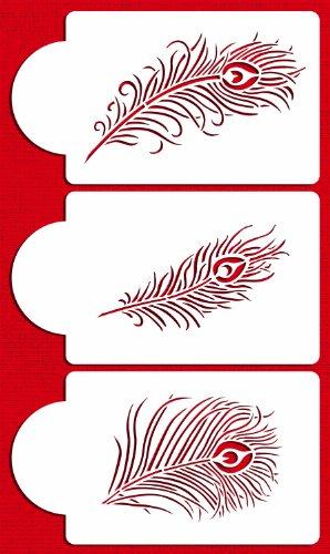 Designer Stencils C723 Peacock Feather Cake Stencil Set, Beige/semi-transparent by Designer Stencils