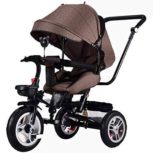 YUMEIGE Kids' Tricycles Kids Tricycle Foldable Kids Pedal Bicycle 1-5 Years Old Load Weight 30kg Baby Carriage Boys Girls Toy Car (Color : Brown)