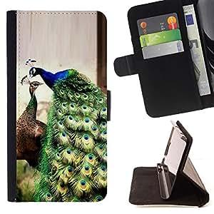 - peacock iridescent green teal blue vibrant - - Prima caja de la PU billetera de cuero con ranuras para tarjetas, efectivo desmontable correa para l Funny HouseFOR Samsung Galaxy S5 Mini, SM-G800