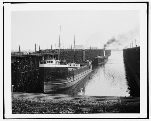Photo: Steamers loading, Missabe ore docks, Iron Range Railway, shipping, Duluth, MN, c1904 . Size: (Duluth Mn Furniture)
