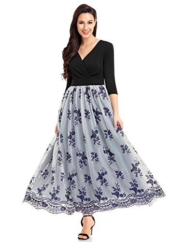 luvamia Women's Navy Blue Surplice V Neck 3 4 Sleeve Sequin Tulle Long Maxi Homecoming Dress Gown XL(US 16-18) (Sequined Surplice)